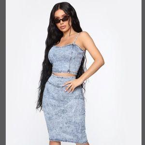 Fashion Nova Acid Wash Denim Jean Skirt Set Small